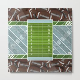 Sky Blue Football Field with Footballs Metal Print