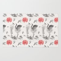 crane Area & Throw Rugs featuring Crane, Swallow, Frog by Deborah Panesar Illustration