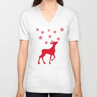 fawn V-neck T-shirts featuring fawn by Li-Bro