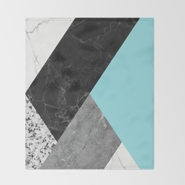Black and white marbles and pantone island paradise color Throw Blanket