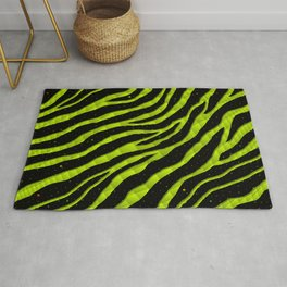 Ripped SpaceTime Stripes - Lime Yellow Rug