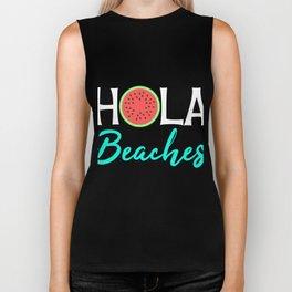 """Hola Beaches"" tee design perfect for beach, watermelon and salutation lovers! Greet them nice! Biker Tank"