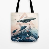 ufo Tote Bags featuring UFO by Tanya_tk