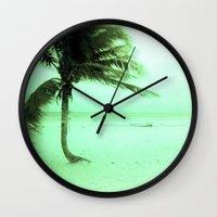 palm Wall Clocks featuring Palm by Julia Aufschnaiter