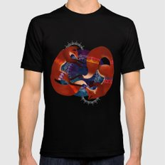 Space Foxes Mens Fitted Tee MEDIUM Black