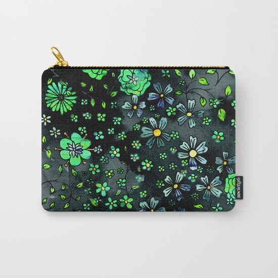 Green Small Flowers Carry-All Pouch