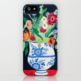 Bouquet of Flowers in Blue and White Urn on Navy iPhone Case
