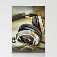 headphones Stationery Cards featuring Headphones by AngelEowyn