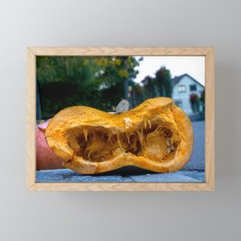Split pumpkin Framed Mini Art Print
