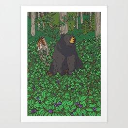 Black Bear & Huckleberry Art Print