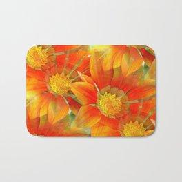 Seamless Vibrant Yellow Gazania Flower Bath Mat