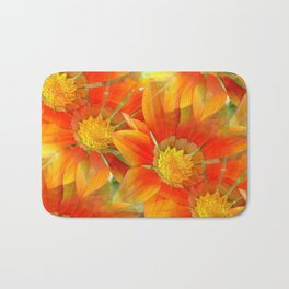 Seamless Vibrant Yellow Gazania Flower Bath Mat