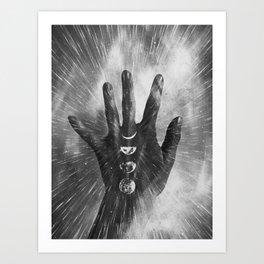 Vintage Moon on Black Hand Art Print