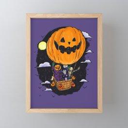 Pumpkin Hot Air Balloon Framed Mini Art Print