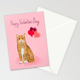 Orange Tabby ginger cats valentines day balloons hearts cat breeds must have gifts valentine's day Stationery Cards