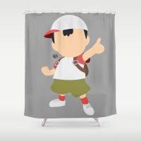 pocket fuel Shower Curtains featuring Ness(Smash)Fuel by ejgomez