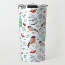 Winter birds white pattern Travel Mug