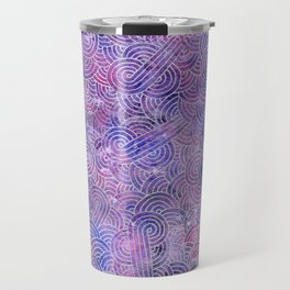 Purple and faux silver swirls doodles Travel Mug