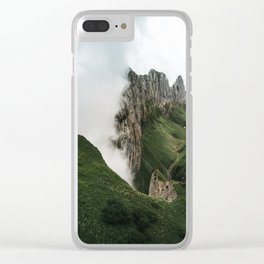 Foggy mountain ridge in Switzerland - Landscape Photography Clear iPhone Case
