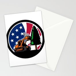 American Forestry Mulcher USA Flag Retro Stationery Cards