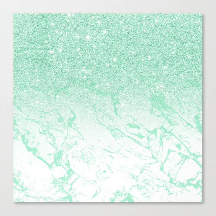 Modern Faux Mint Glitter Ombre Mint Turquoise Marble Canvas Print