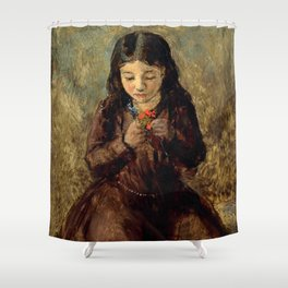 """John Everett Millais """"Florence 'Pobby' Thomas, kneeling and holding a posy of flowers"""" Shower Curtain"""