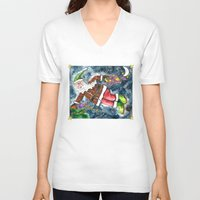 santa V-neck T-shirts featuring Santa by Shelley Ylst Art