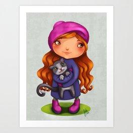 Little girl with kitty Art Print