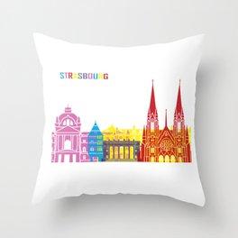 Strasbourg skyline pop Throw Pillow