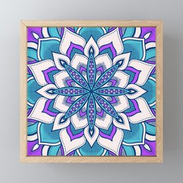 Purple Turquoise Blue Flower Mandala Framed Mini Art Print
