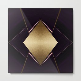 Rich Gold and Purple Accent Diamond Pattern Metal Print