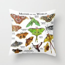 Moths of the World Throw Pillow