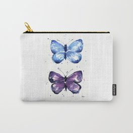 Butterflies Watercolor Blue and Purple Butterfly Carry-All Pouch
