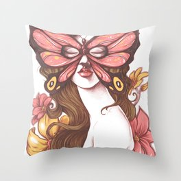 Buterfly mask Throw Pillow