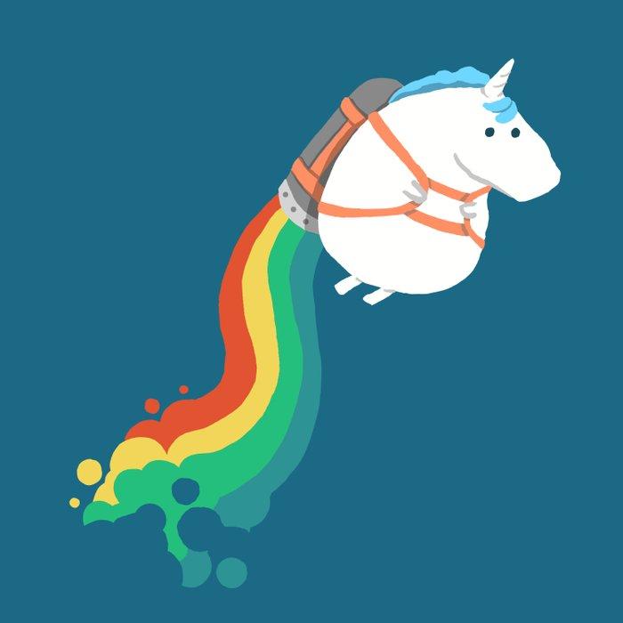 Fat Unicorn On Rainbow Jetpack Duvet Cover By Budikwan