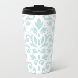 Scroll Damask Lg Pattern Duck Egg Blue on White Travel Mug
