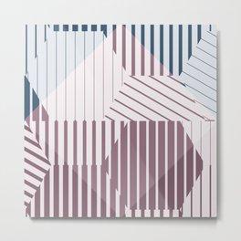 Molecules - Geometric Abstract Blue Blush Hexagons Metal Print
