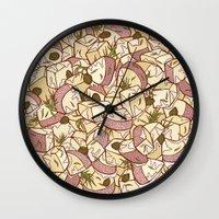 potato Wall Clocks featuring Potato Salad by Raewyn Haughton