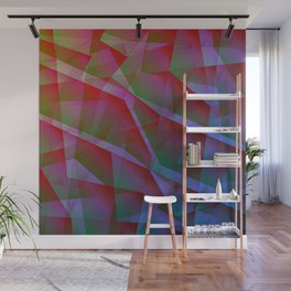 Bright contrasting fragments of crystals on irregularly shaped green and pink triangles. Wall Mural