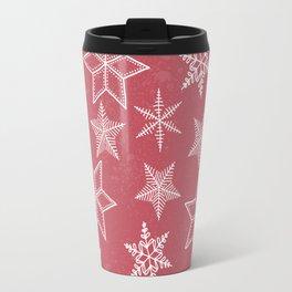 Snowflakes On Pastel Red Background Travel Mug