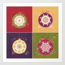 Christmas Retro Ornaments Art Print