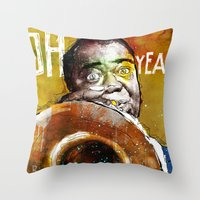 louis armstrong Throw Pillows featuring Louis Armstrong by Ed Pires