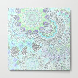 Spring Explosion: Bright Green and Blue Mandala Pattern Metal Print