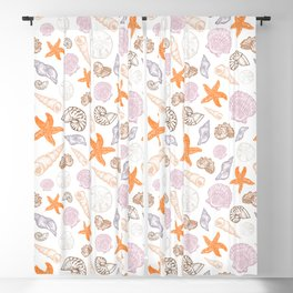 Seashell Print Blackout Curtain