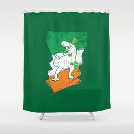 Distressed Irish Flag St Patricks Dinosaur Green Shower Curtain