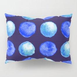 Winter Blue Watercolor Large Dots Pattern Pillow Sham