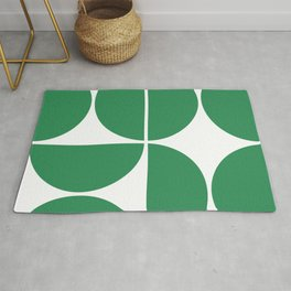 Mid Century Modern Green Square Rug