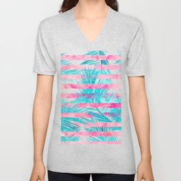 Modern pink turquoise tropical palm tree watercolor stripes pattern Unisex V-Neck
