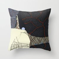kaiju Throw Pillows featuring kaiju by thefleafarm (Amy Wright)