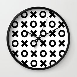 XOXO - love valentines black and white minimal design pattern for trendy gifts noughts and crosses Wall Clock